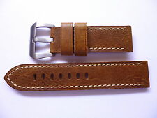 24mm Watch Strap Band with Buckle - 24/24mm Soft Leather Panerai Style