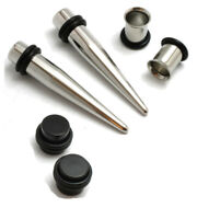 Stainless Steel Tapers Tunnels Black Plugs Ear Stretching Kit Gauges 00g-14g