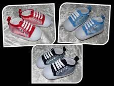 Babyschuhe Schuhe Turnschuhe gestreift 6- 9, 9- 12, 12- 15 Mon. rot blau schwarz