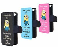 Funny Minions Born To Awesome Not Perfect Flip Wallet Phone Case Cover