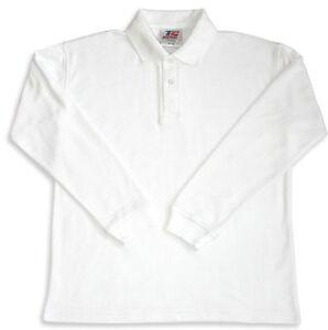 BOYS KIDS CHILDREN Unisex POLO SHIRT COLLAR SHIRT WHITE LONG SLEEVE PREMIUM TOP