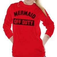Mermaid Off Duty Funny Lifeguard Beach Gym Long Sleeve T-Shirts Tee For Women