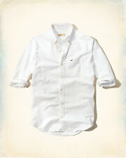 NWT Hollister by Abercrombie Men Logo Button Down Solid Oxford Shirt White XL