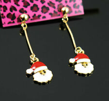 New Betsey Johnson Santa Claus Golden Ball Ear Stud Dangle Long Drop Earrings