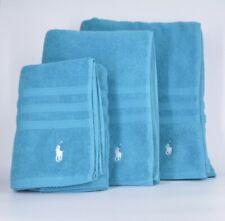 Ralph Lauren Towel Set 3 Piece Hand Towel Bath Towel And Beach Towel Blue Cotton