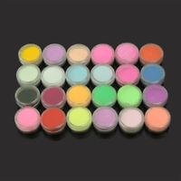 24 Colors Acrylic Nail Art UV Gel Powder Dust Design Decoration 3D Manicure LSH