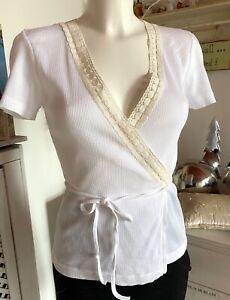 Noa Noa Wickel-Jacke Shirt Carlifornia Kurzarm T-Shirt White size: M Neu