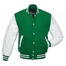 Green White Wool Varsity Letterman Bomber Jacket Real Leather Sleeves
