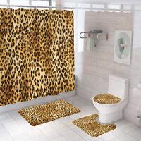 Leopard Print Bathroom Rug Set Shower Curtain Non Slip Toilet Lid Cover Bath Mat