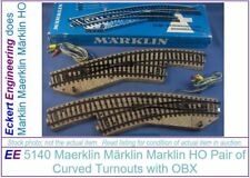 "EE 5140 NEW Pair of Marklin HO ""M"" Track Turnouts (aka 5141 + 5142) OBX"