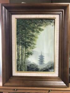 Rare Painting oil painting Shufu Miyamoto Bamboo forest rain