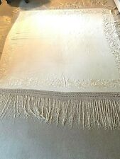 Antique, Large Silk Piano Shawl, Cream Colored, Embroidered
