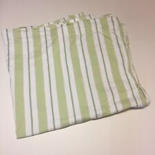 "Pottery Barn Kids Green White Striped Curtain Panel 44"" x 84"" Lined Cotton"