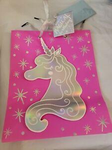 "Pink Party Unicorn Happy Birthday Party Celebration Gift Bag 9.5"" x 7.75"" x 4.5"""
