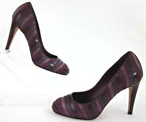 Cole Haan Air Mix Stripe Round Toe Pumps Purple Shades Leather US 5B