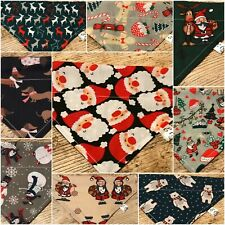 🎅🏼☃️ Handmade CHRISTMAS DOG BANDANA REVERSIBLE SLOT TOP Neckerchief PRESENT