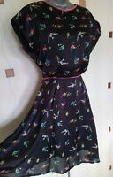 LOUCHE DRESS 10 38 SMALL S BIRDS FIT & FLARE SKATER BOHO HIPPY QUIRKY