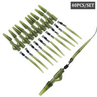 40//80pc Fishing Tackle Carp lead clips Quick Change swivels Anti Tangle Sleeves