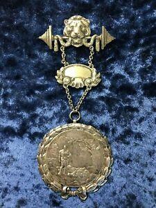 NUDE Hercules & Nemean Lion  Weightlifting 1928 German Sport Club medal