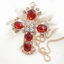 Rose Gold Plated Crystal Red Cross Pendant Long Necklace Sweater Chain