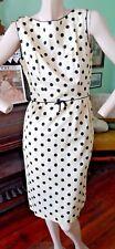 Helen Whiting vintage sheath dress tailored sleeveless polka dot dotted swiss S