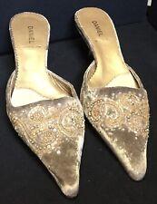 Pedro Miralles Kitten Heel Beaded Velvet Mules, Leather Soles. Size 5 (EU 38).