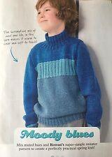 KNITTING PATTERN Childrens Striped Jumper Boys Mixed Hues Sweater Girls Rowan