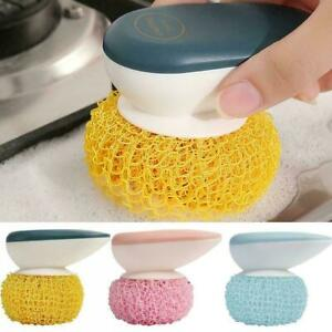 Multifunctional Kitchen Soap Dispensing Palm Brush Tool Cleaning With Deter B0T5