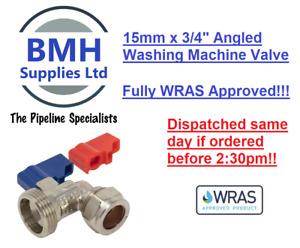 "15mm x 3/4"" WASHING MACHINE/DISHWASHER VALVE HOT & COLD WATER ANGLED, WRAS!!"