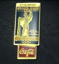 1932 Los Angeles~LA~Coca Cola Olympic Poster Pin Badge1988 Coke~Xth Olympiad~NEW
