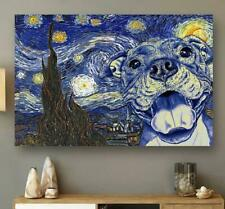 Pit Bull Starry Night White Landscape Canvas 0.75in