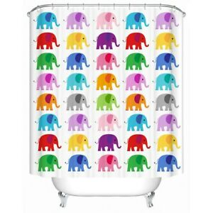 Rainbow Cartoon Elephant Animal Modern Bathroom Waterproof Bath Shower Curtain