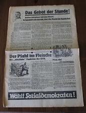 Alter Wurfzettel / Wahlwerbung SPD / Das Gebot der Stunde! 1920/30