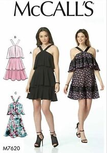 McCalls Sewing Pattern 7620 Dress Tiered Cold Shoulder Strappy 4-12 Ladies