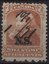 Canada Revenue VanDam #NSB8 7c Nova Scotia orange bill stamp