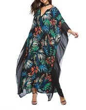 Plus Size Long Maxi Dress Navy Blue Floral Print  Kaftan Size 14-16-18-20