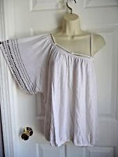 GUESS L NWT Top White Linen Cotton Knit One Shoulder Silver Beaded Kimono Sleeve