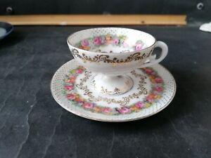 Vintage Floral Vienna Porcelain Coffee Cup & Saucer.