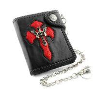 Chain Wallet Mens Leather Purse With Key Chain Cross Rock Biker Wallet