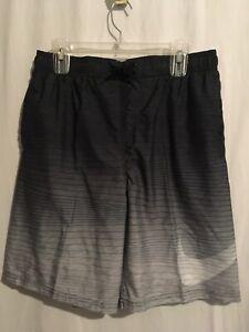 Nike Swim Trunks Board Shorts Sz L XL Black Gray Stripes Swoosh NWT