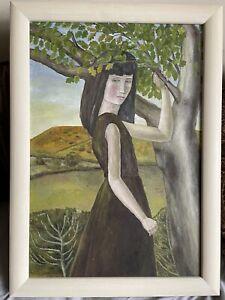 "Original Framed Oil on Board Titled ""GIRL STANDING BY TREE"" Frances Farrer 1963"