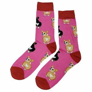 NWT Corgi Heart Dress Socks Novelty Men 8-12 Pink Fun Sockfly
