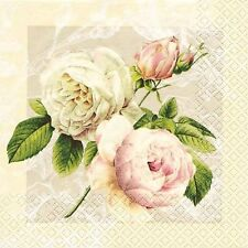 4 x Table Paper Napkins/Decoupage/Dining/Craft/Vintage/Quality/Cottage Rose