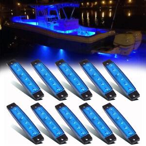10 Pcs Marine Boat LED Deck Courtesy Lights Waterproof Blue Stern Transom Light