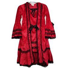 Strangeling Little Red Riding Hood girls costume dress red Xl velvet lace edge
