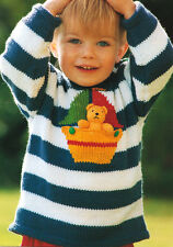 Nautical Stripe Boat & Teddy Toy  ~ Childrens Sweater 2 - 6 years ~  DK Cotton