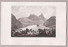 Schweiz, Lauerzersee und Insel Schwanau. Stich, Stahlstich um 1850