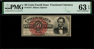 FR-1374 $0.50 Fourth Issue Fractional Currency - 50 Cent - Graded PMG 63 EPQ