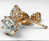 5Ct Round Cut Diamond Push Back Solitaire Stud Earrings 14K Yellow Gold Finish