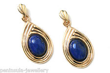 9ct Gold Lapis Lazuli drop earrings Gift Boxed